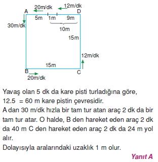 00252 Hareket Problemleri Çözümlü Soruları Test 1