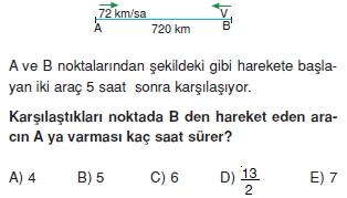 00449 Hareket Problemleri Çözümlü Soruları Test 1
