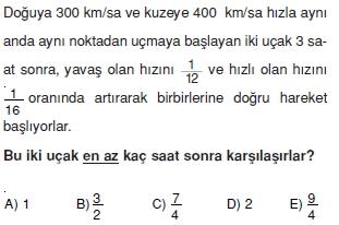 00547 Hareket Problemleri Çözümlü Soruları Test 1