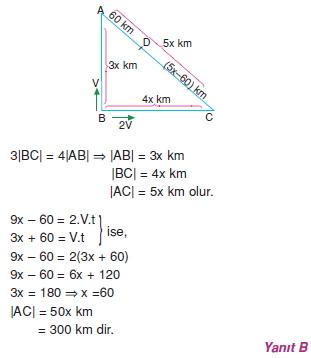 00642 Hareket Problemleri Çözümlü Soruları Test 1
