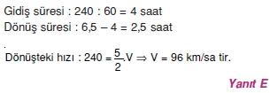 00742 Hareket Problemleri Çözümlü Soruları Test 1