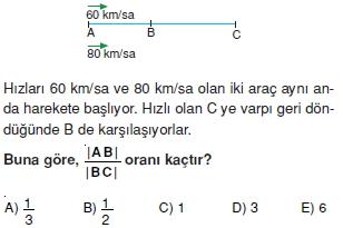 00743 Hareket Problemleri Çözümlü Soruları Test 1