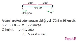 00840 Hareket Problemleri Çözümlü Soruları Test 1