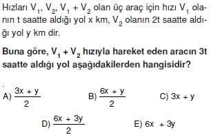 00841 Hareket Problemleri Çözümlü Soruları Test 1