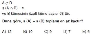 00958 Kümeler İle İlgili Sorular (Test 3 )