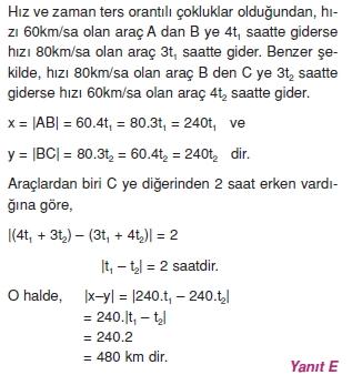 01127 Hareket Problemleri Çözümlü Soruları Test 1