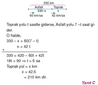 01227 Hareket Problemleri Çözümlü Soruları Test 1