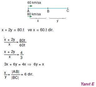 01326 Hareket Problemleri Çözümlü Soruları Test 1