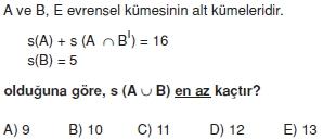 01532 Kümeler İle İlgili Sorular (Test 3 )