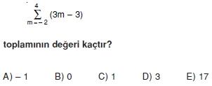 001117 Toplam Çarpım Sembolü Çözümlü Soruları (Test 1 )