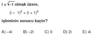 00290 Karmaşık Sayılar Çözümlü Sorular (Testi 1)