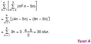 003119 Toplam Çarpım Sembolü Çözümlü Soruları (Test 1 )