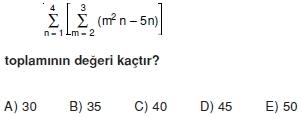 004121 Toplam Çarpım Sembolü Çözümlü Soruları (Test 1 )