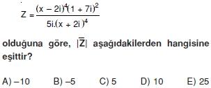 00492 Karmaşık Sayılar Çözümlü Sorular (Testi 2)