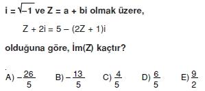 00495 Karmaşık Sayılar Çözümlü Sorular (Testi 1)