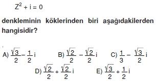 00496 Karmaşık Sayılar Çözümlü Sorular (Testi 1)