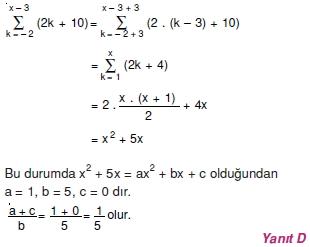 005112 Toplam Çarpım Sembolü Çözümlü Soruları (Test 1 )