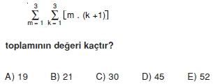005113 Toplam Çarpım Sembolü Çözümlü Soruları (Test 1 )
