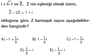 00586 Karmaşık Sayılar Çözümlü Sorular (Testi 1)