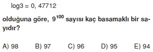 006106 Logaritma Soruları (Test 1 )