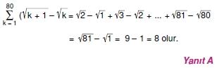006114 Toplam Çarpım Sembolü Çözümlü Soruları (Test 1 )
