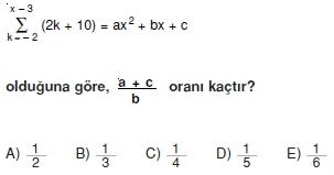 006115 Toplam Çarpım Sembolü Çözümlü Soruları (Test 1 )