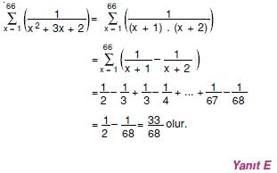 007107 Toplam Çarpım Sembolü Çözümlü Soruları (Test 1 )