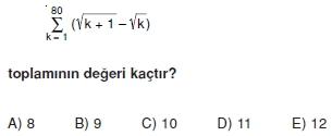 007108 Toplam Çarpım Sembolü Çözümlü Soruları (Test 1 )
