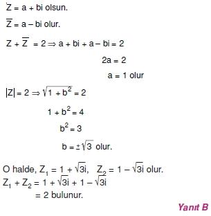 00782 Karmaşık Sayılar Çözümlü Sorular (Testi 2)