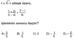 00784 Karmaşık Sayılar Çözümlü Sorular (Testi 1)