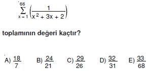 008106 Toplam Çarpım Sembolü Çözümlü Soruları (Test 1 )