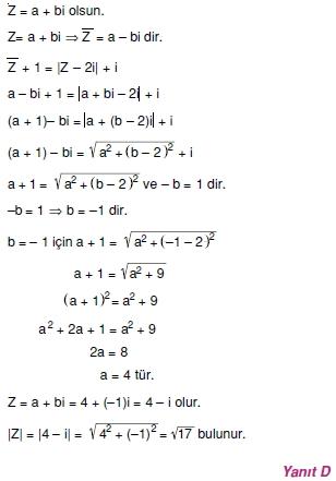00878 Karmaşık Sayılar Çözümlü Sorular (Testi 1)