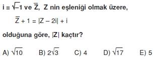 00879 Karmaşık Sayılar Çözümlü Sorular (Testi 1)