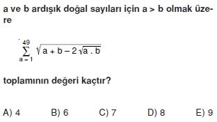 009100 Toplam Çarpım Sembolü Çözümlü Soruları (Test 1 )