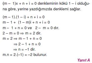 00974 Karmaşık Sayılar Çözümlü Sorular (Testi 2)