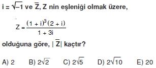 00976 Karmaşık Sayılar Çözümlü Sorular (Testi 1)