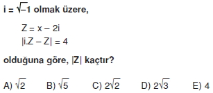 01070 Karmaşık Sayılar Çözümlü Sorular (Testi 1)