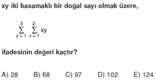 01090 Toplam Çarpım Sembolü Çözümlü Soruları (Test 1 )