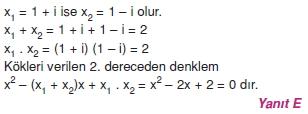 01165 Karmaşık Sayılar Çözümlü Sorular (Testi 2)