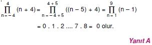 01187 Toplam Çarpım Sembolü Çözümlü Soruları (Test 1 )