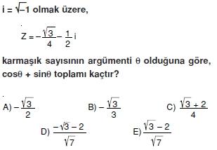 01270 Karmaşık Sayılar Çözümlü Sorular (Testi 1)