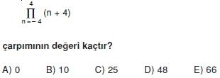 01290 Toplam Çarpım Sembolü Çözümlü Soruları (Test 1 )