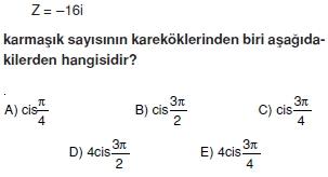 01359 Karmaşık Sayılar Çözümlü Sorular (Testi 2)