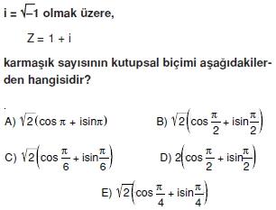 01362 Karmaşık Sayılar Çözümlü Sorular (Testi 1)