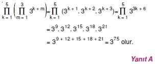 01376 Toplam Çarpım Sembolü Çözümlü Soruları (Test 1 )