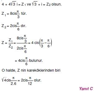 01455 Karmaşık Sayılar Çözümlü Sorular (Testi 2)