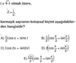 01457 Karmaşık Sayılar Çözümlü Sorular (Testi 1)