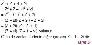 01555 Karmaşık Sayılar Çözümlü Sorular (Testi 2)