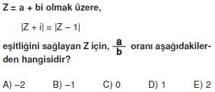 01752 Karmaşık Sayılar Çözümlü Sorular (Testi 2)