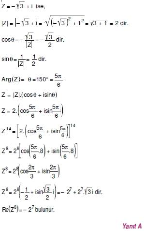 01855 Karmaşık Sayılar Çözümlü Sorular (Testi 1)